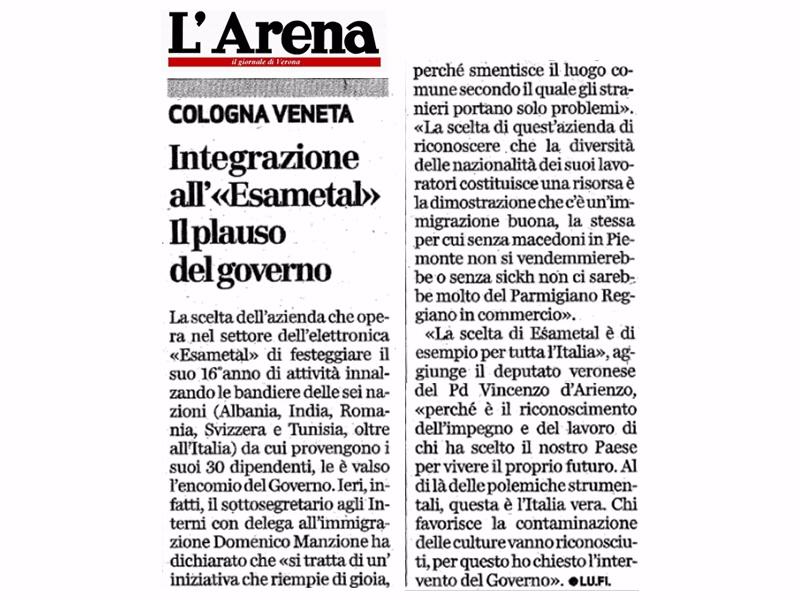 """Integrazione all'«Esametal» – Il plauso del governo (""""L'Arena, 26/10/14)"""